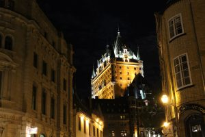 The Chateau Frontenac as viewed from street level in the late evening.